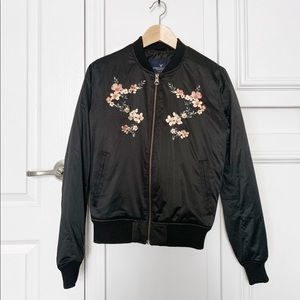 Lightweight Flower Embroidered Bomber Jacket